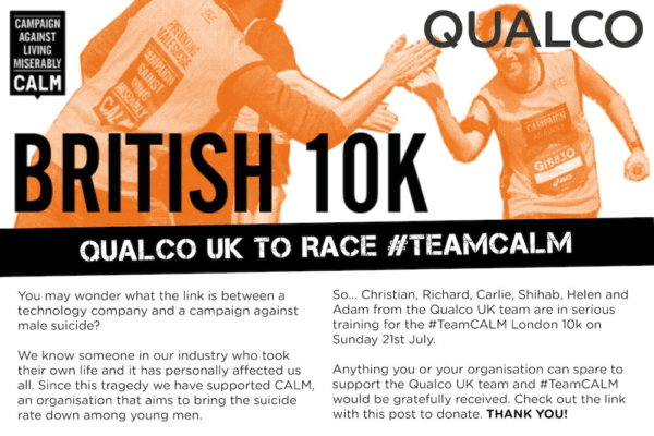 Qualco UK to take part in #TeamCALM London 10k